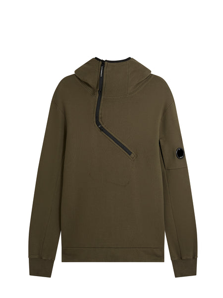 Diagonal Zip Funnel Neck Hooded Sweatshirt in Dark Olive