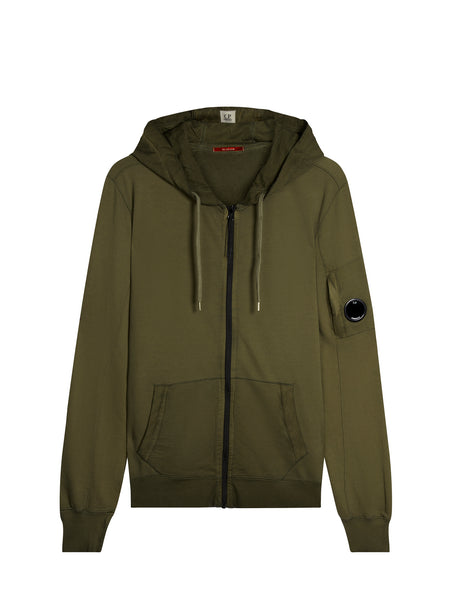 Re-Colour Lens Sleeve Zip Hooded Sweatshirt in Cloudburst