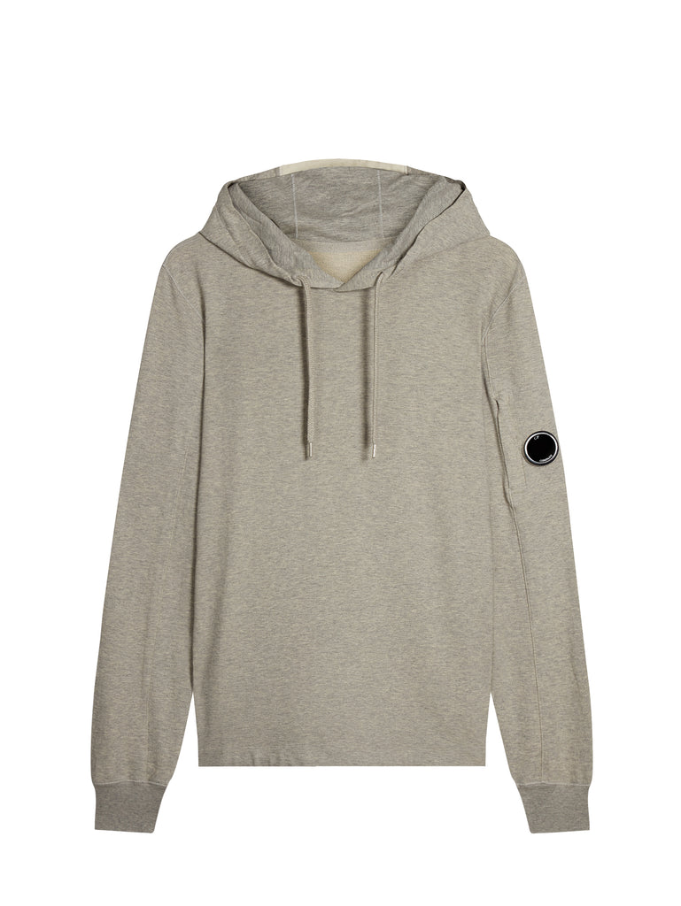 Light Fleece Lens Hooded Sweatshirt in Grey Melange