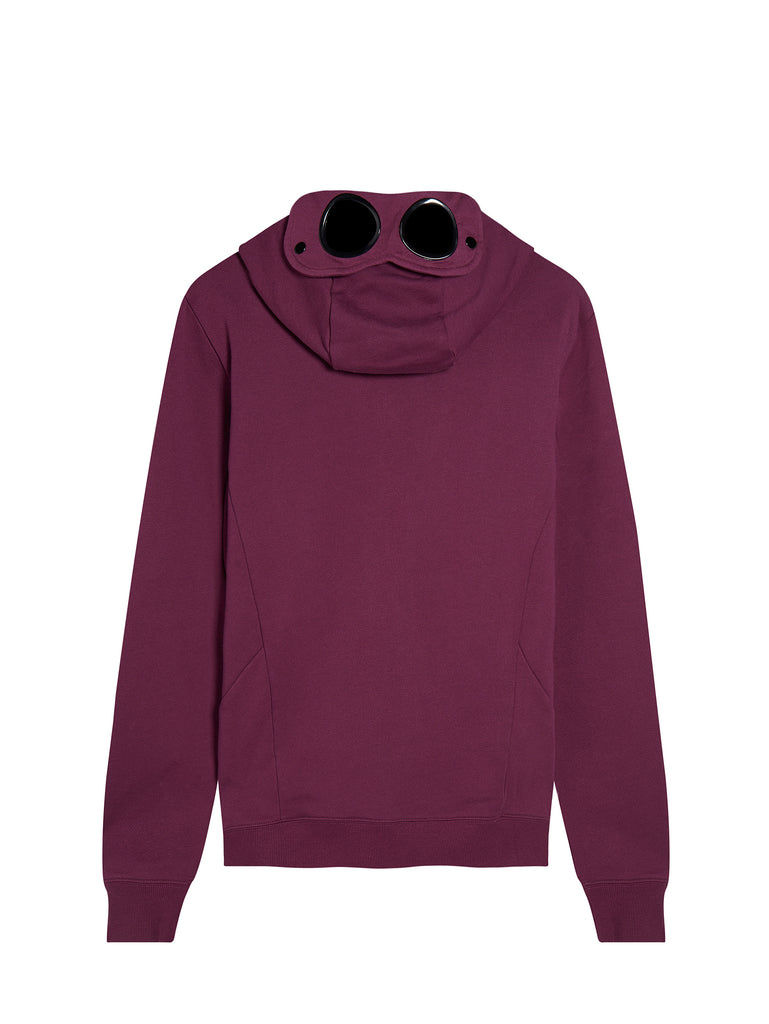 Diagonal Raised Fleece Zip Goggle Hoodie in Gloxinia Purple