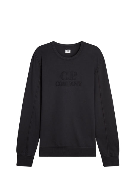 Large Embroidered Logo Crew Neck Sweatshirt in Black Coffee