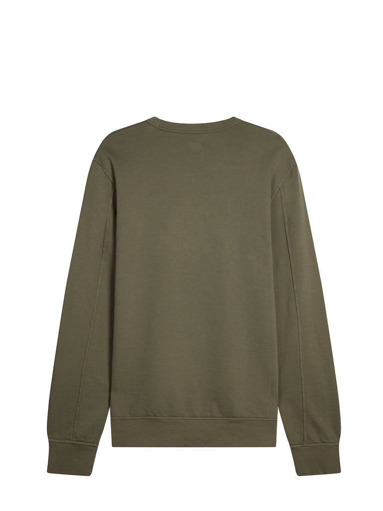 Large Embroidered Logo Crew Neck Sweatshirt in Sage