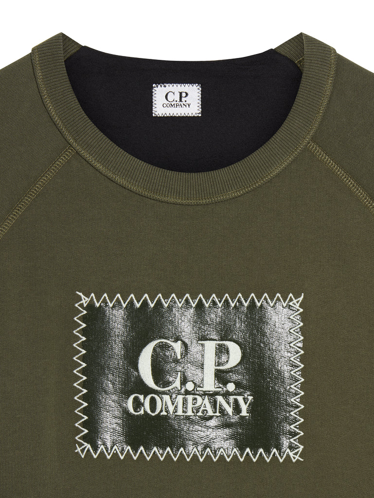 Printed Patch Crew Sweatshirt in Dark Olive