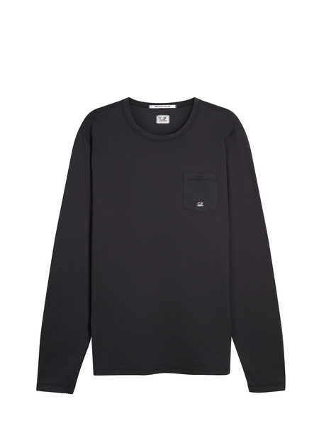 Mako Cotton Long Sleeve Pocket T-Shirt in Black Coffee