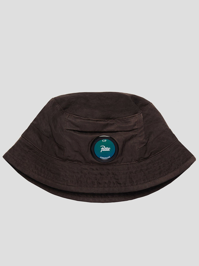 Garment Dyed Nylon Sateen Bucket Hat in Raisin