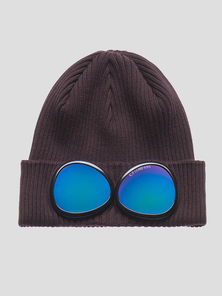 Cotton Goggle Beanie in Raisin