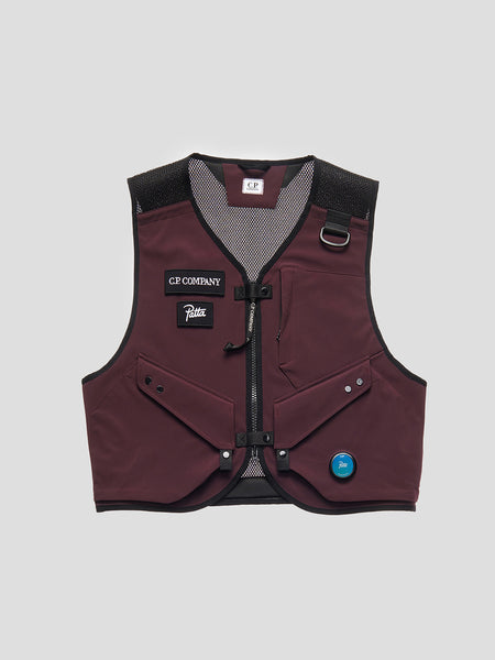 C.P. Shell / Mesh Utility Vest in Raisin