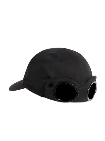 Gabardine Goggle Cap in Black