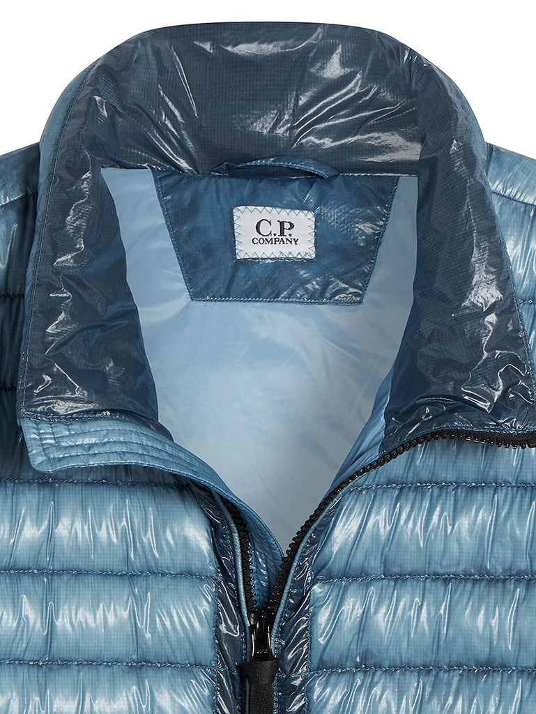 DD Shell Padded Stand Collar Lens Jacket in Faded Denim