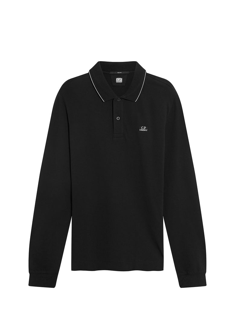 Stretch Pique Striped Collar Long Sleeve Polo in Black