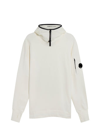 Diagonal Raised Fleece Quarter Zip Lens Hoodie in Gauze White