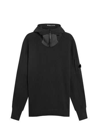 Diagonal Raised Fleece Quarter Zip Lens Hoodie in Black