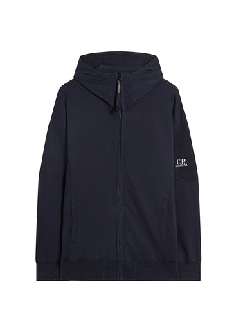 Garment Dyed Light Fleece Sleeve Logo Hoodie in Total Eclipse