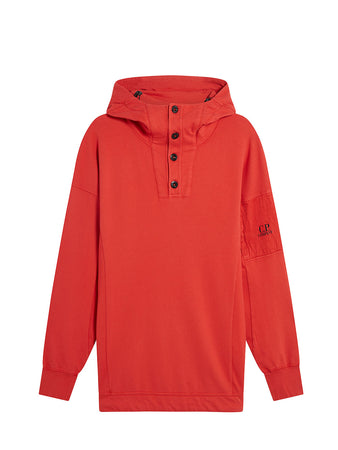 Garment Dyed Light Fleece Buttoned Sleeve Logo Hoodie in Pompeian Red
