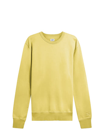 Garment Dyed Brushed Cotton Fleece Sweatshirt in Golden Yellow