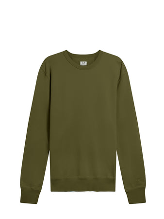 Garment Dyed Brushed Cotton Fleece Sweatshirt in Ivy Green