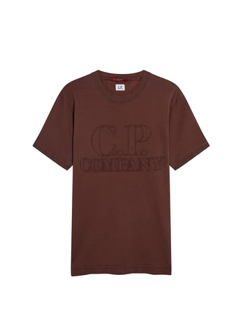 Re-Colour Jersey 24/1 Oversized Logo T-Shirt in Brunette