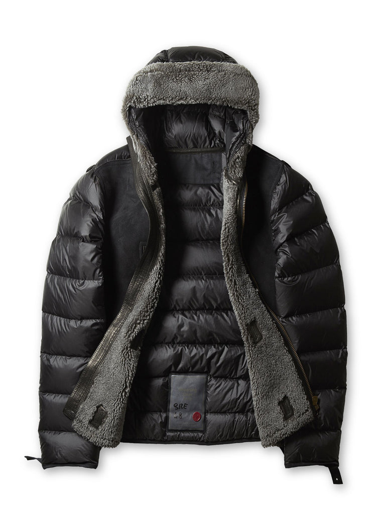 Ten c / Hooded Shearling Liner in Grey