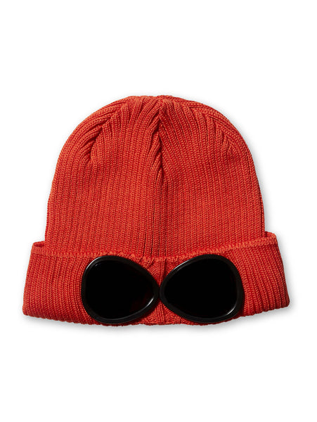 Undersixteen Wool Beanie Goggle Hat in Red