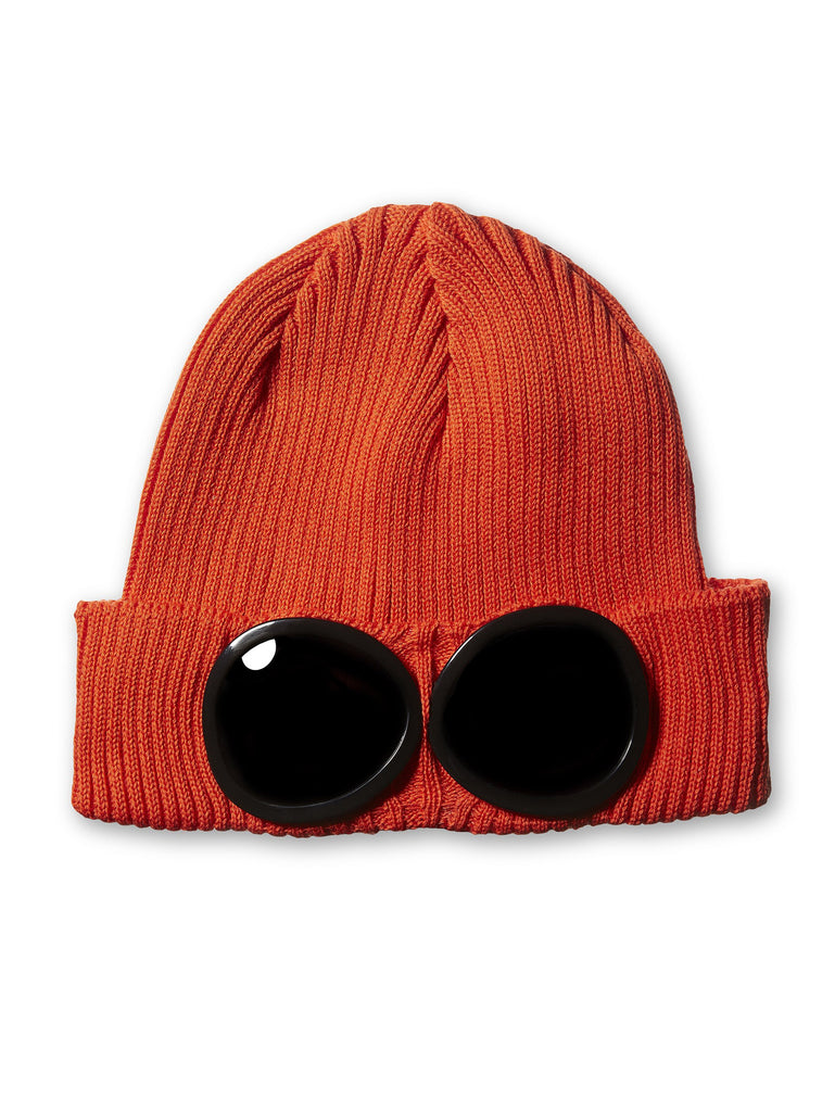 C.P. Company Undersixteen Wool Beanie Goggle Hat in Orange