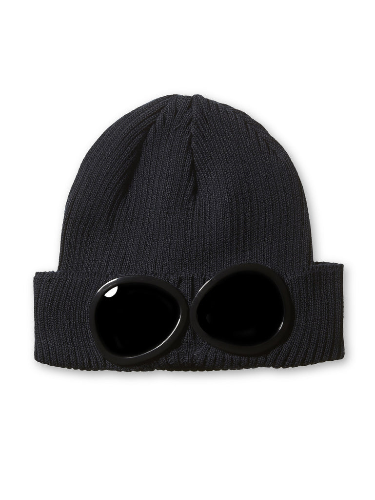 C.P. Company Undersixteen Wool Beanie Goggle Hat in Nay Blue