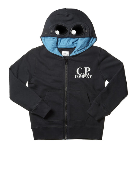 C.P. Company Undersixteen Hoodie with Contrast Lined Goggle Hood in Blue