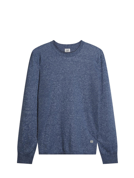 C.P. Company  FAST DYED 14-GAUGE MERINO WOOL CREWNECK IN BLUE
