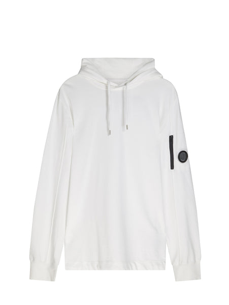 C.P. Company Garment Dyed Light Fleece Hoodie in White