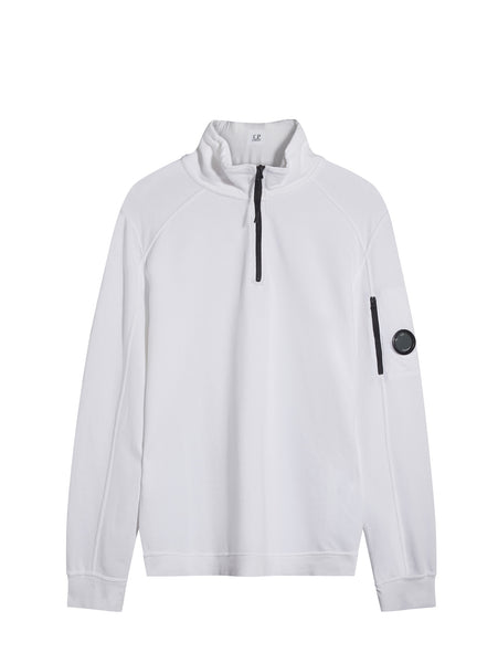 C.P. Company Garment Dyed Light Fleece Quarter Zip Sweatshirt in White