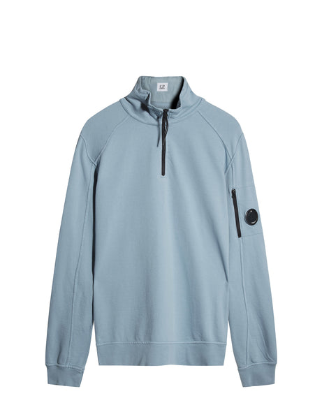 C.P. Company Garment Dyed Light Fleece Quarter Zip Sweatshirt in Blue