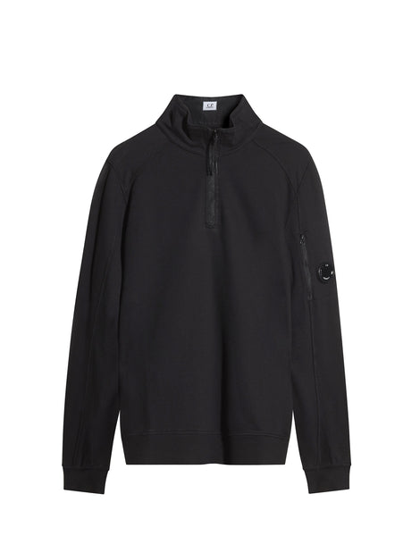 C.P. Company Garment Dyed Light Fleece Quarter Zip Sweatshirt in Black