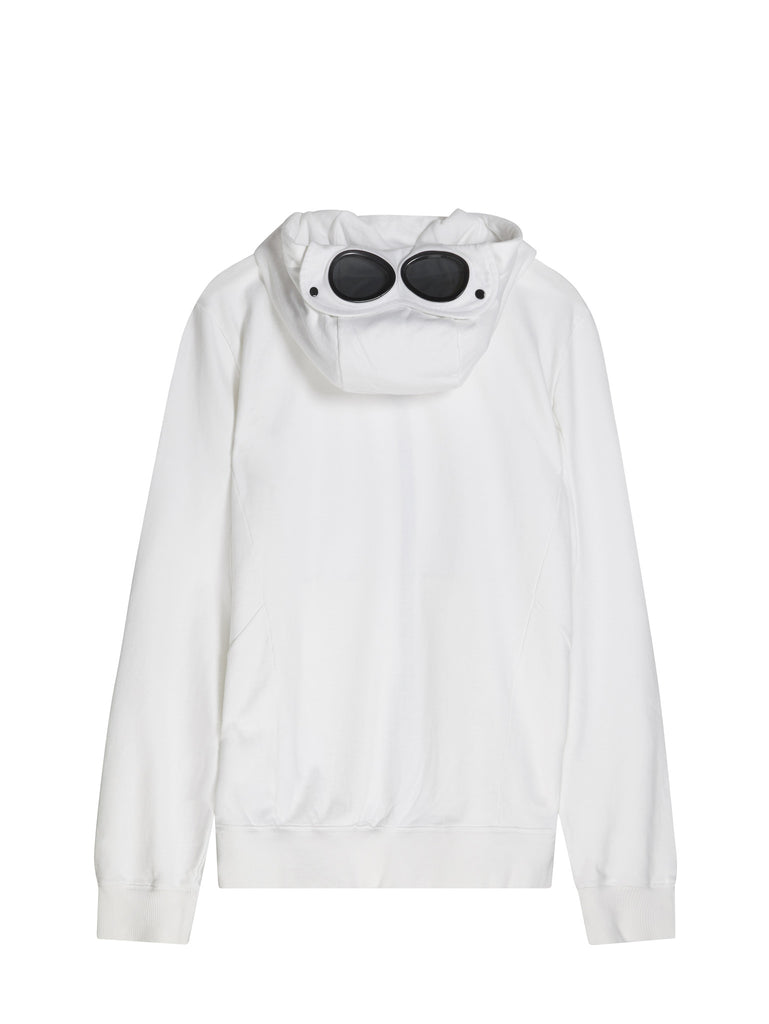 C.P. Company Diagonal Fleece Goggle Hooded Sweatshirt in White