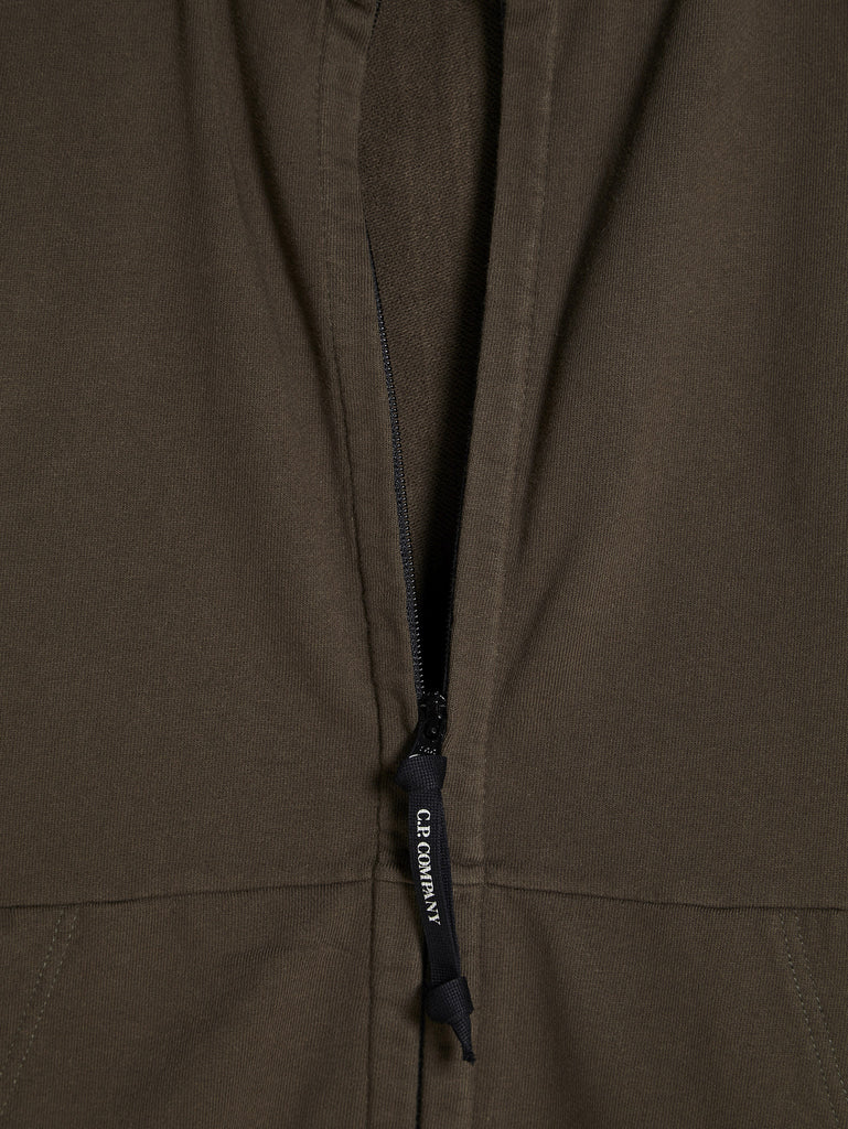 C.P. Company Diagonal Fleece Goggle Hooded Sweatshirt in Green