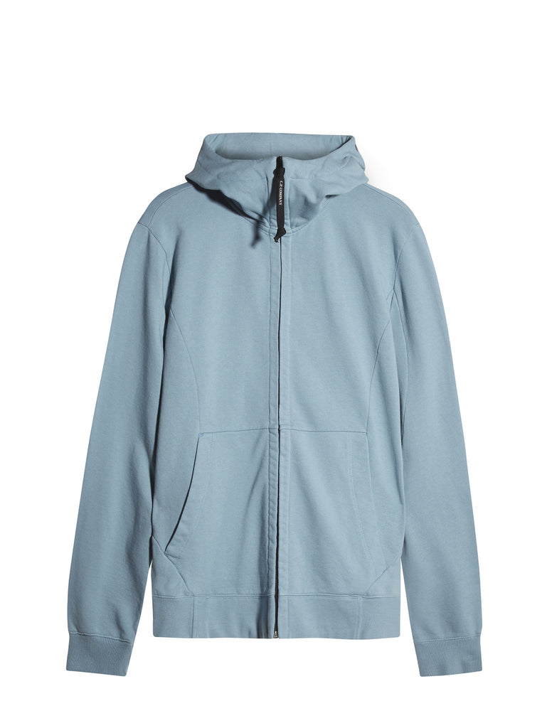 C.P. Company Diagonal Fleece Goggle Hooded Sweatshirt in Light Blue