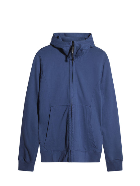 C.P. Company Diagonal Fleece Goggle Hooded Sweatshirt in Blue