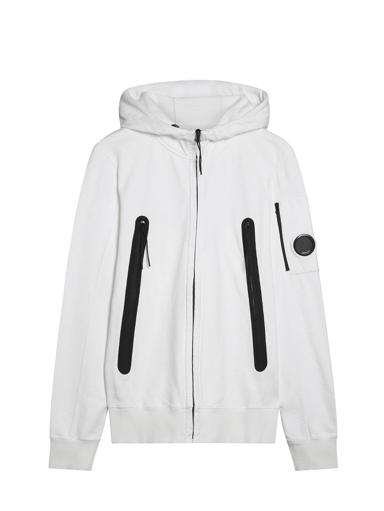 C.P. Company Diagonal Fleece Hooded Sweatshirt with Oversized Pockets in White