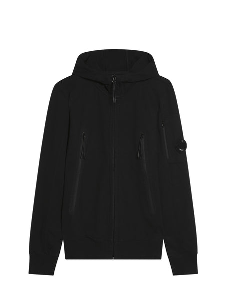 C.P. Company Diagonal Fleece Hooded Sweatshirt with Oversized Pockets in Black