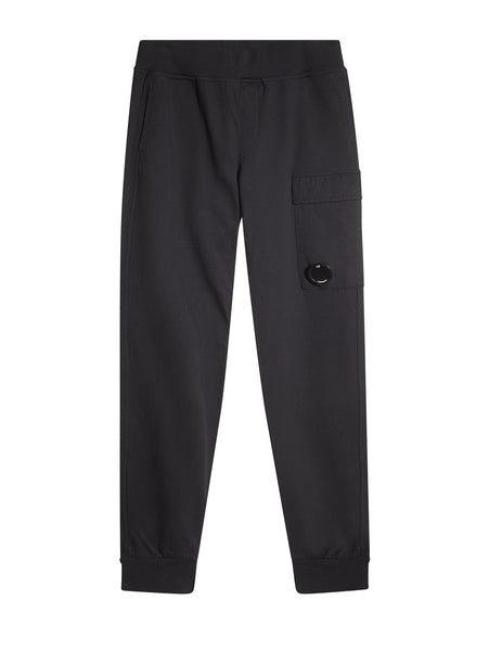 C.P. Company Diagonal Fleece Trackpants in Black