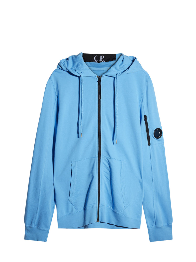 C.P. Company Garment Dyed Light Fleece Zip Hooded Sweatshirt in Blue