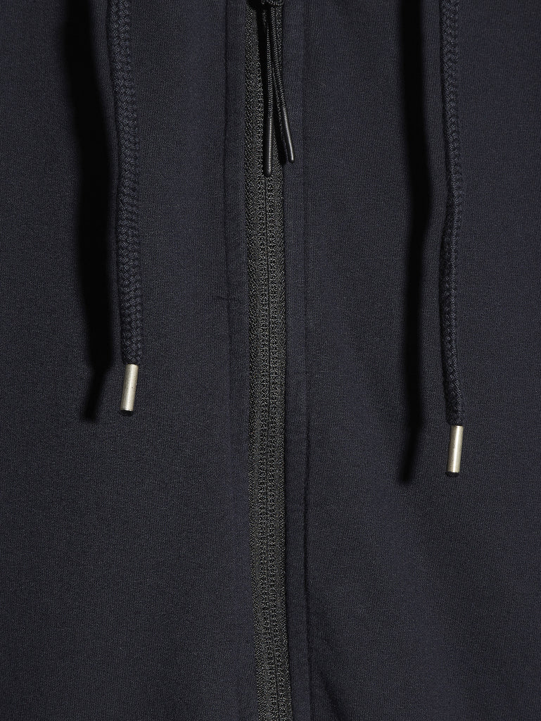 C.P. Company Garment Dyed Light Fleece Zip Hooded Sweatshirt in Navy