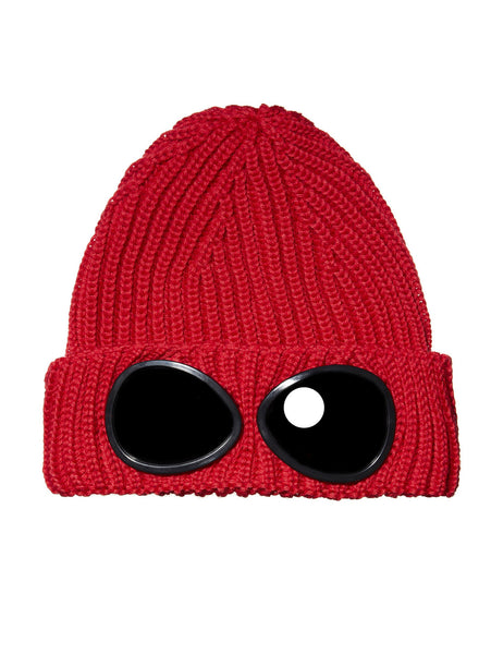 Undersixteen Garment-Dyed Ribbed Goggle Hat in Red
