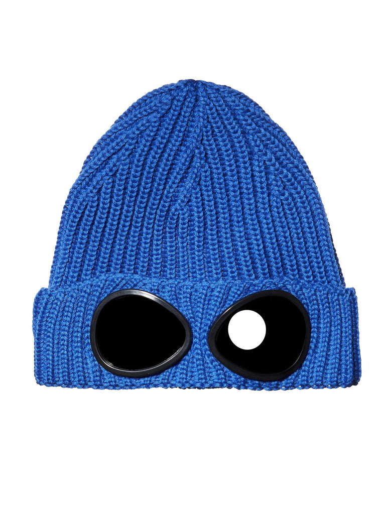 Undersixteen Garment-Dyed Ribbed Goggle Hat in Blue