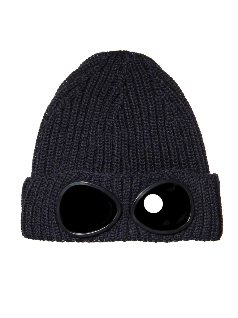 Undersixteen Garment-Dyed Ribbed Goggle Hat in Navy