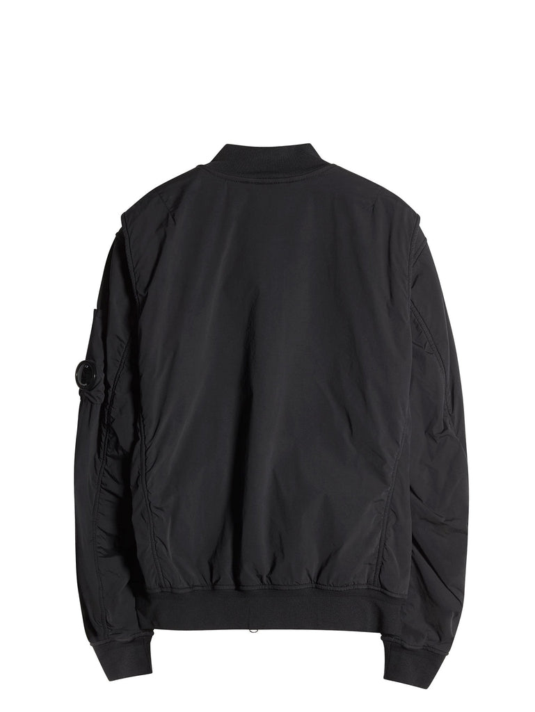 C.P. Company  NYCRA Stretch Nylon Shell MA1 Jacket with Arm Lens in Black
