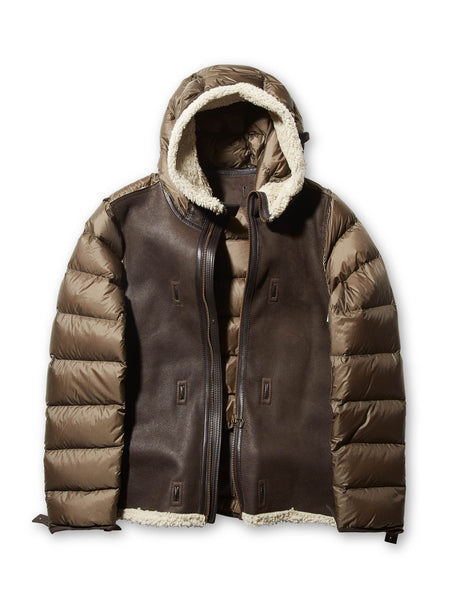 Ten c / Hooded Shearling Liner in Brown
