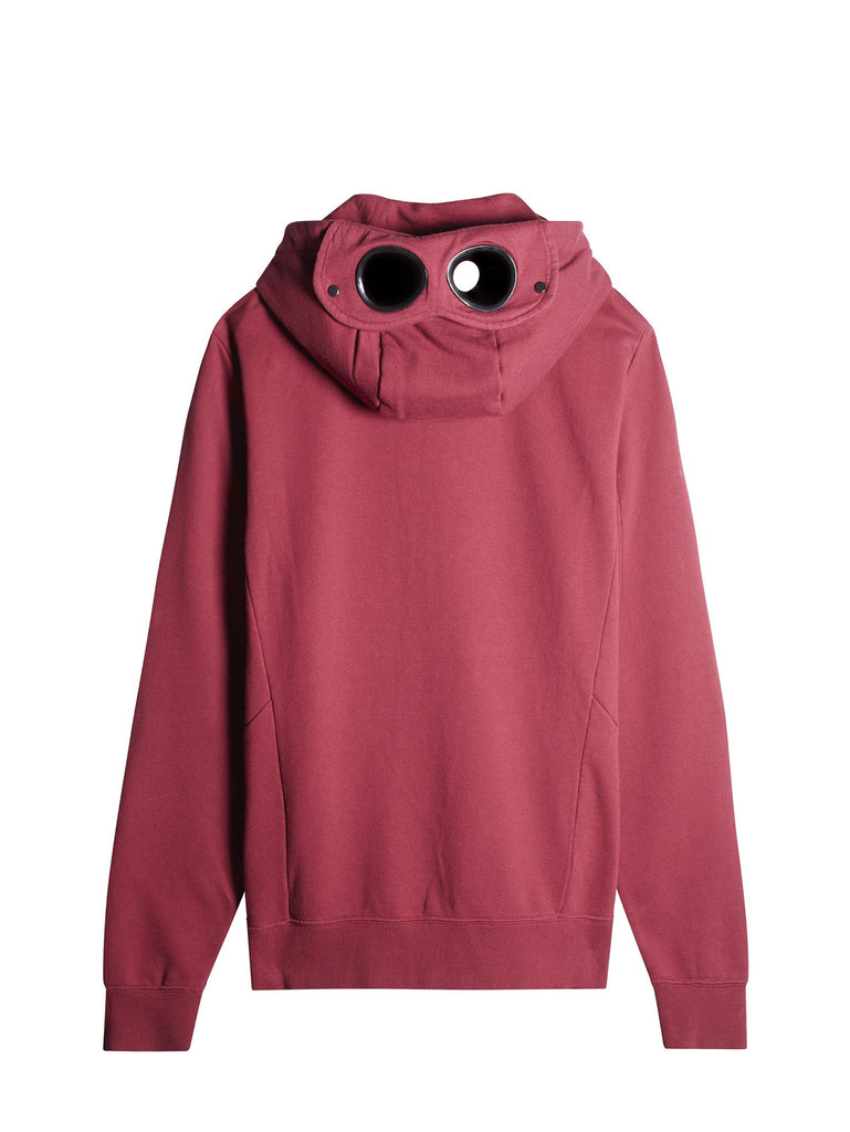 C.P. Company Hooded Zip Through Goggle Fleece in Cherry Red