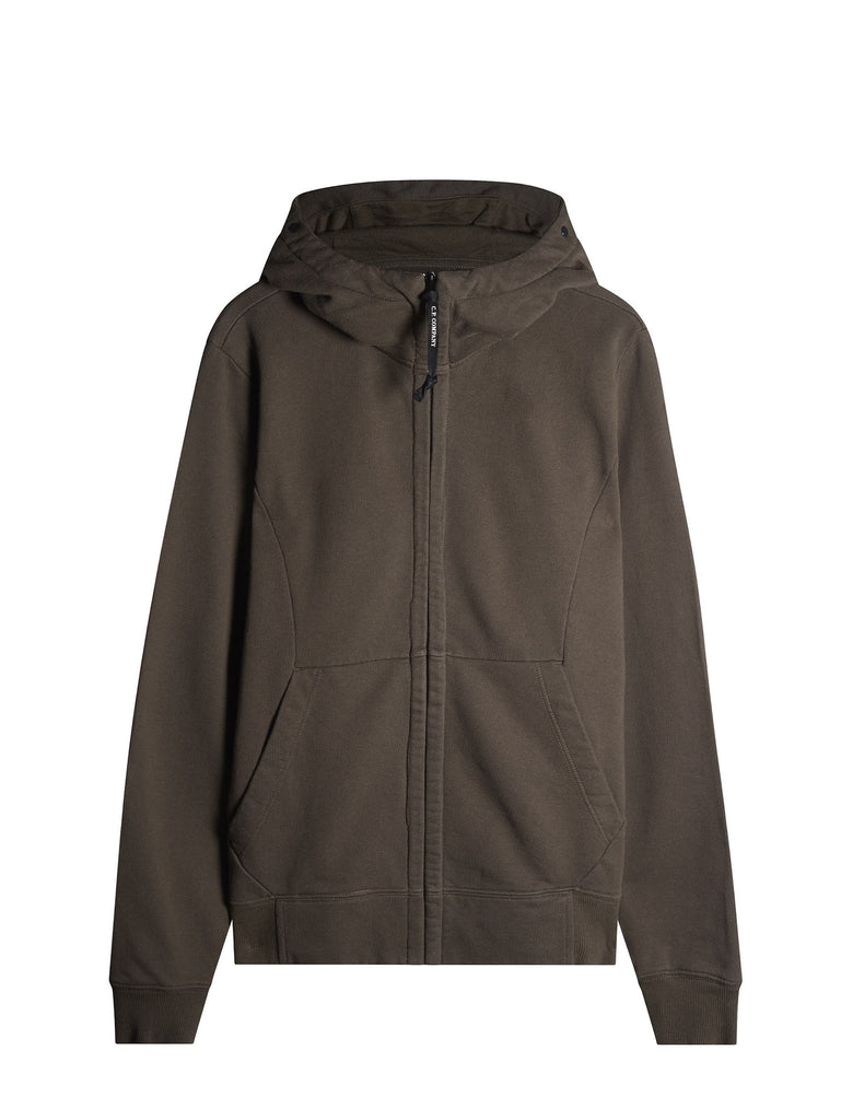 C.P. Company Hooded Zip Through Goggle Fleece in Khaki Green