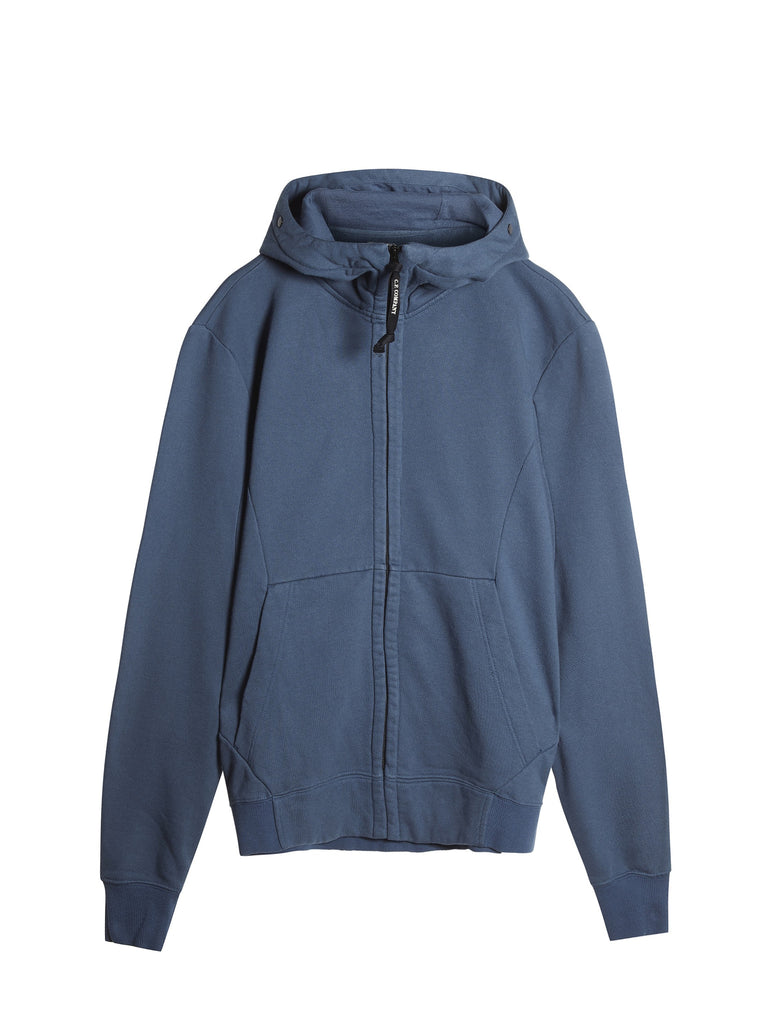 C.P. Company Hooded Zip Through Goggle Fleece in Blue