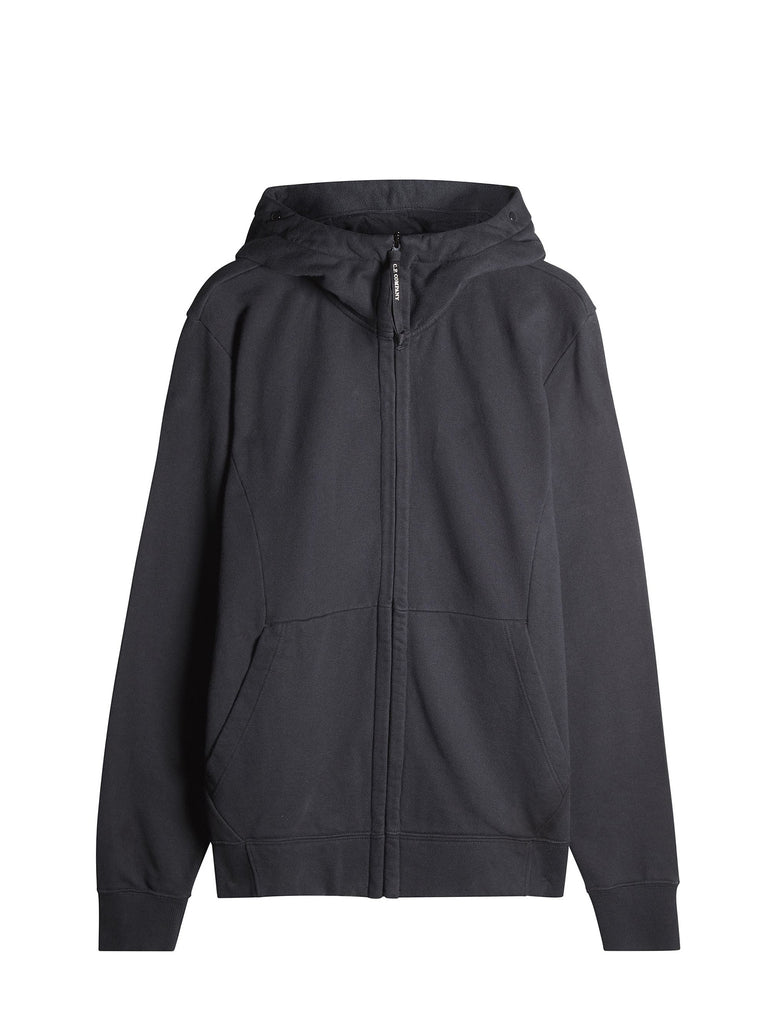 C.P. Company Hooded Zip Through Goggle Fleece in Black