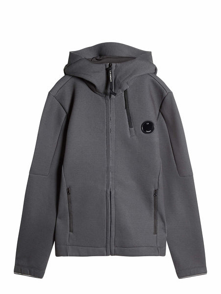 C.P. Company FELPA DOPPIA HOODED ZIP SWEATSHIRT IN Grey